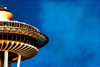 Photos of the observation deck of the Space Needle in Seattle.