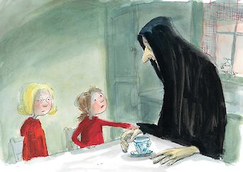 Cover of book - an illustration with two small children and a tall hooded figured at a table